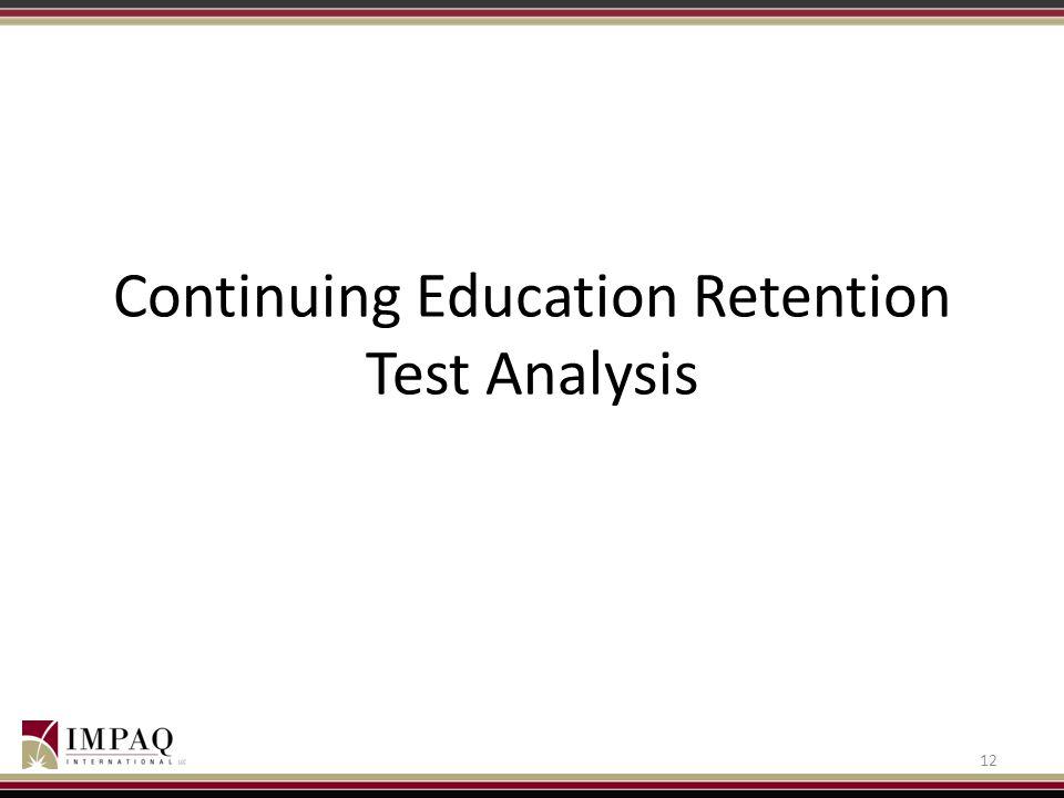 Continuing Education Retention Test Analysis