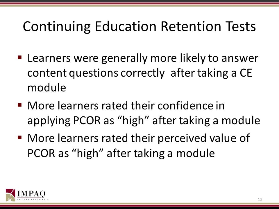 Continuing Education Retention Tests
