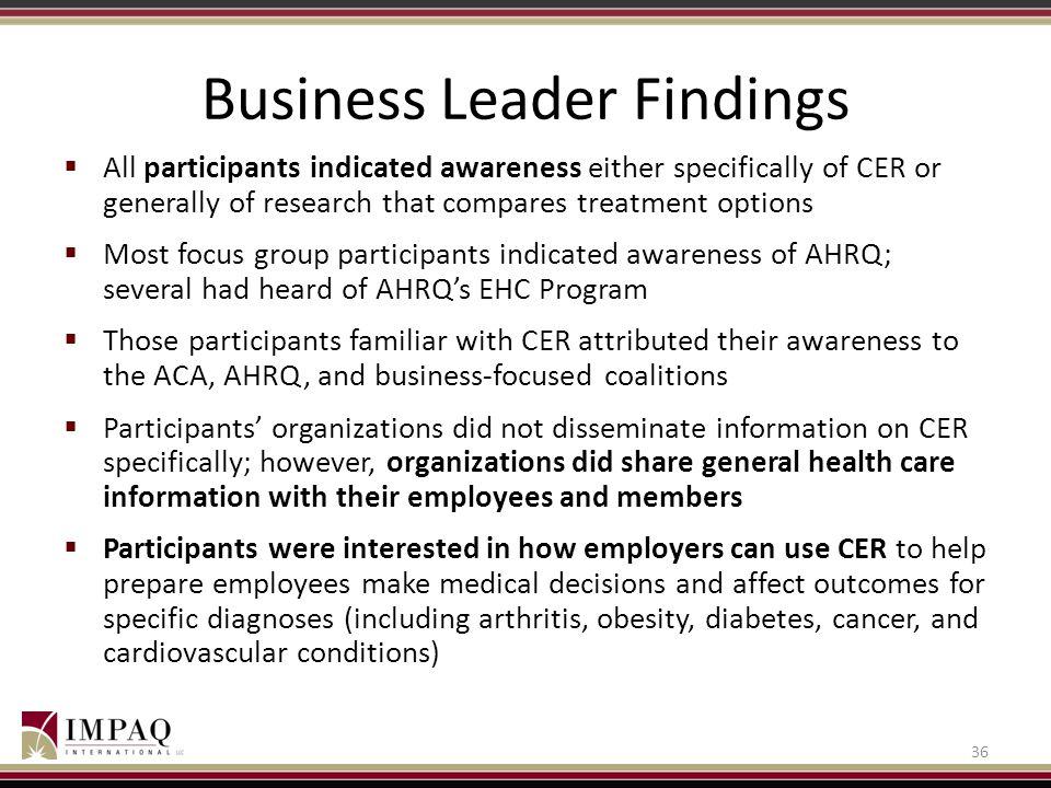 Business Leader Findings