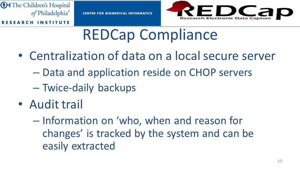 REDCap Compliance Centralization of data on a local secure server