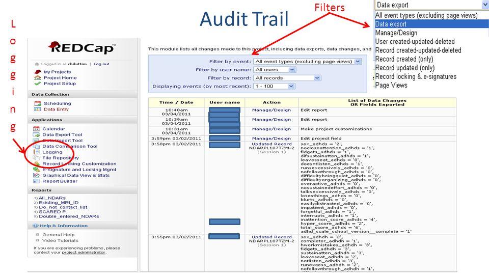 Filters Audit Trail Logging