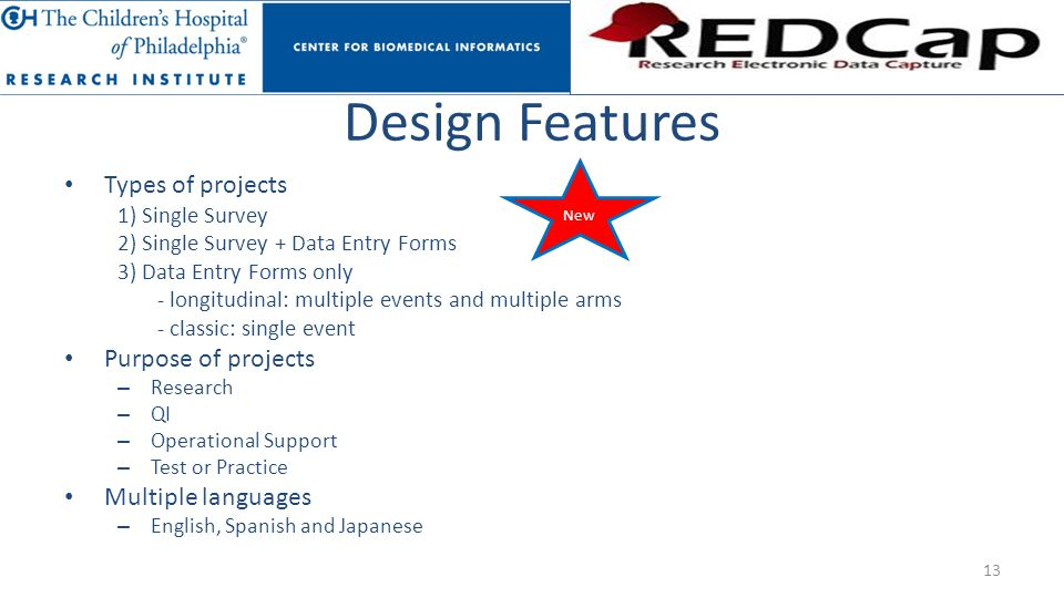 Design Features Types of projects Purpose of projects