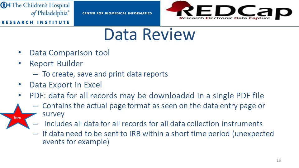 Data Review Data Comparison tool Report Builder Data Export in Excel
