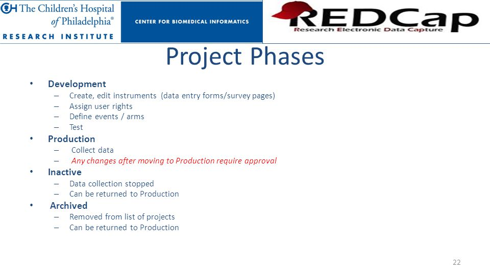 Project Phases Development Production Inactive Archived