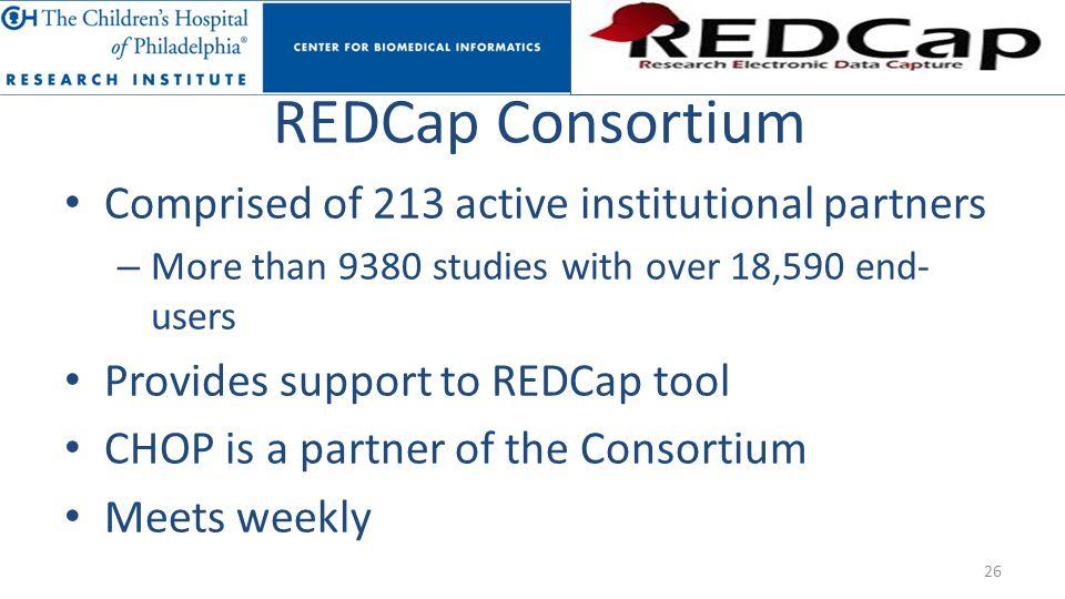 REDCap Consortium Comprised of 213 active institutional partners