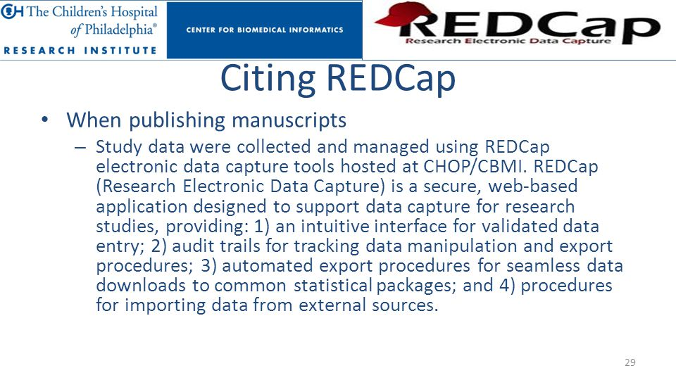 Citing REDCap When publishing manuscripts