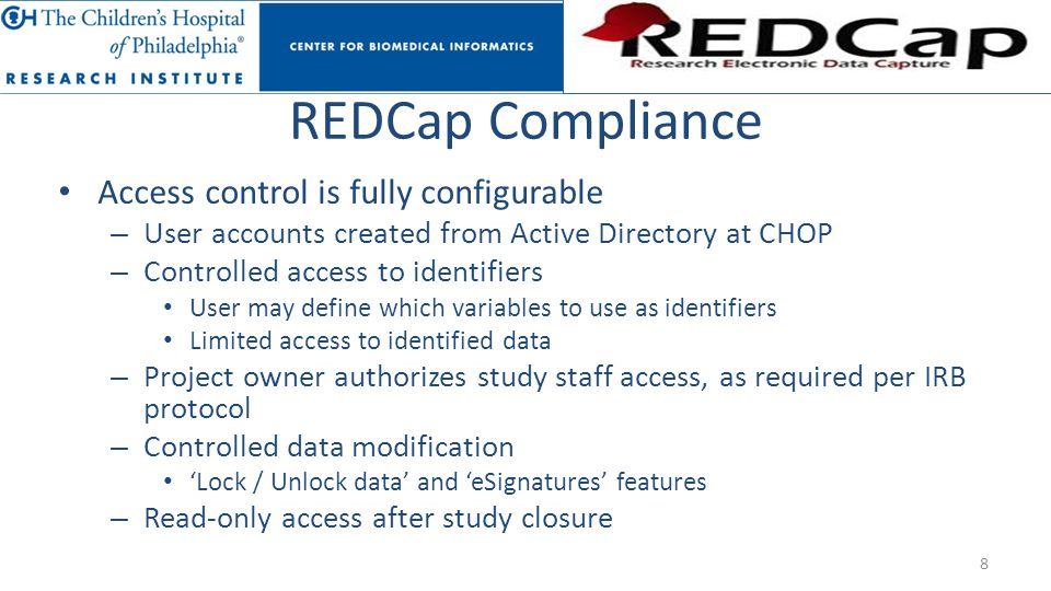 REDCap Compliance Access control is fully configurable