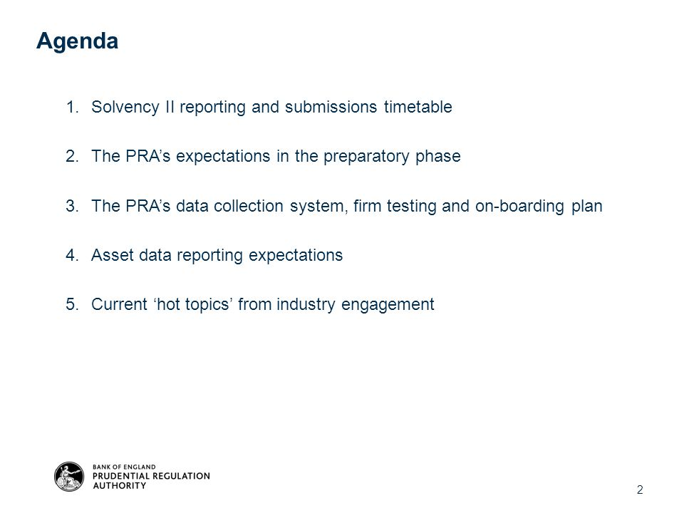 Agenda Solvency II reporting and submissions timetable