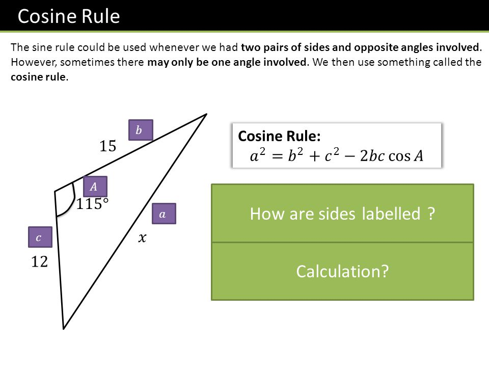 Cosine Rule How are sides labelled Calculation Cosine Rule: 15