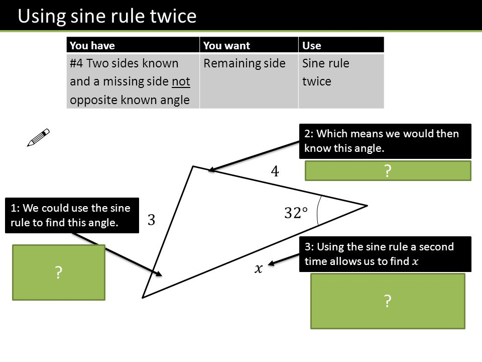 ! Using sine rule twice 4 32° 3 𝑥