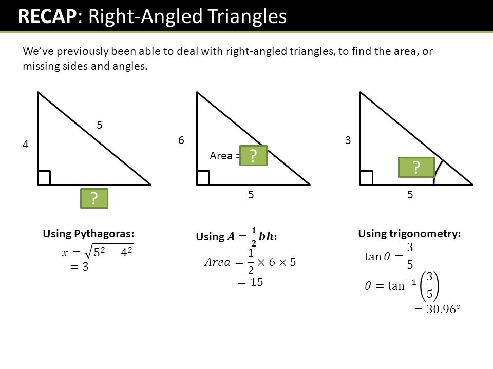 RECAP: Right-Angled Triangles