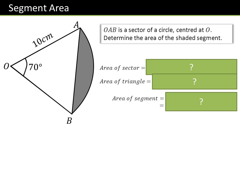 Segment Area 𝐴. 𝑂𝐴𝐵 is a sector of a circle, centred at 𝑂. Determine the area of the shaded segment.