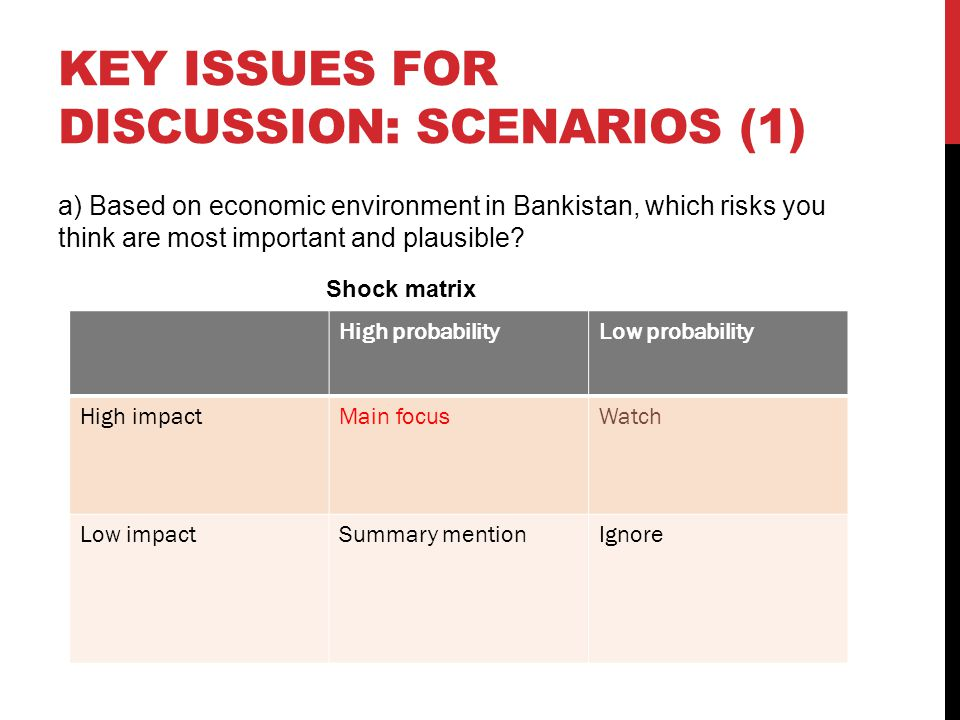 Key issues for discussion: scenarios (1)