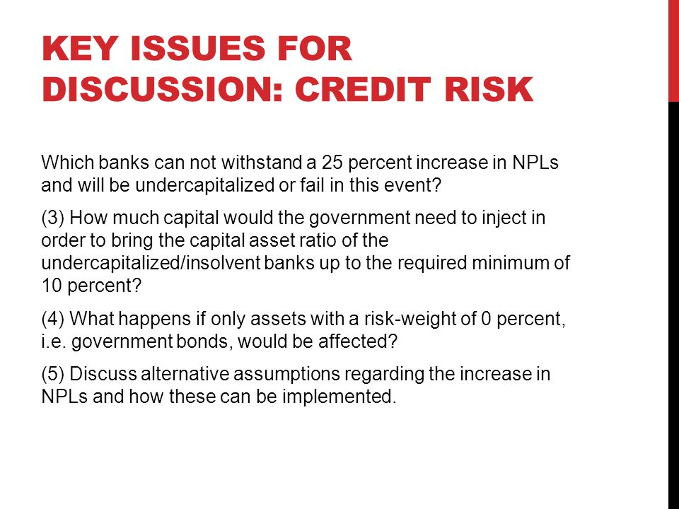 Key issues for discussion: credit risk