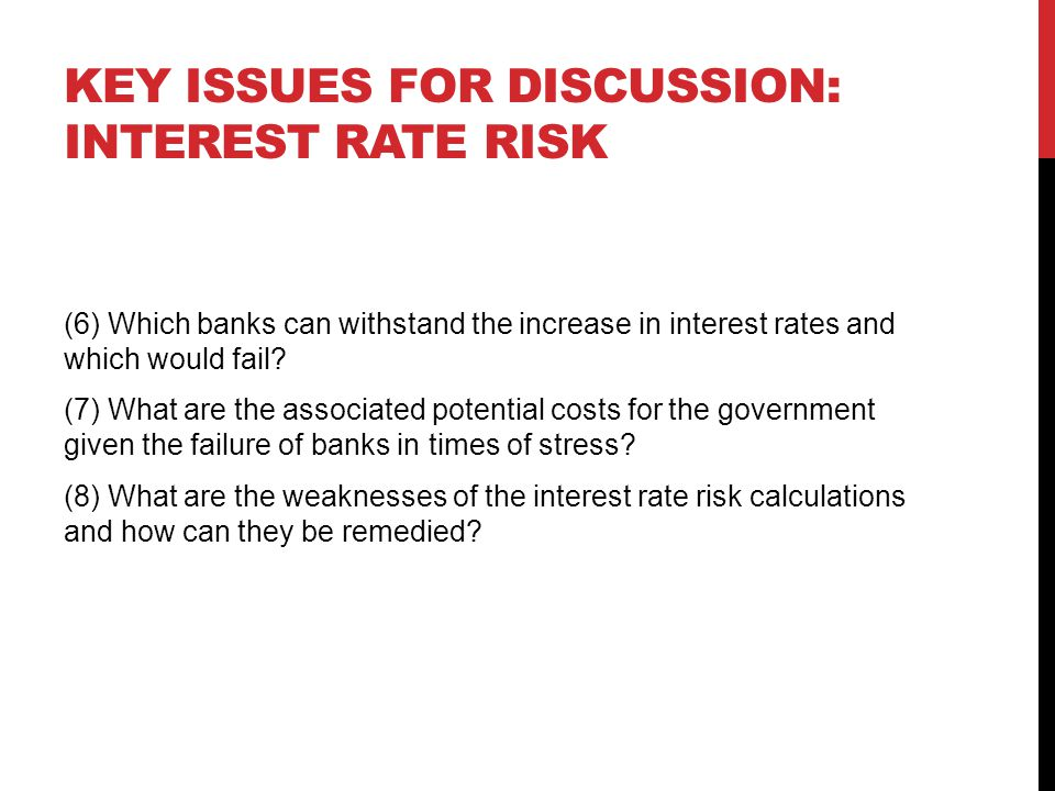 Key issues for discussion: interest rate risk