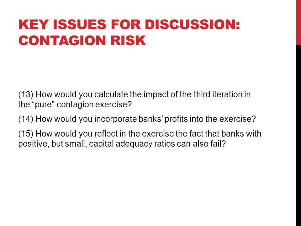 Key issues for discussion: contagion risk