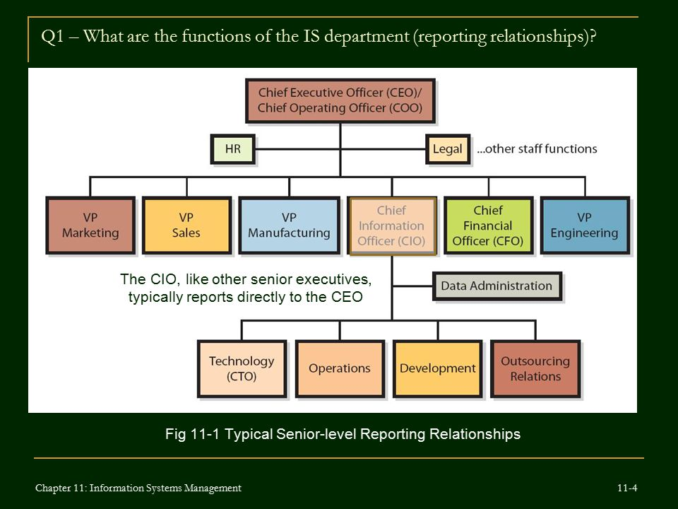 Q1 – What are the functions of the IS department (reporting relationships)