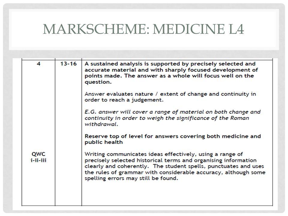 Markscheme: Medicine L4
