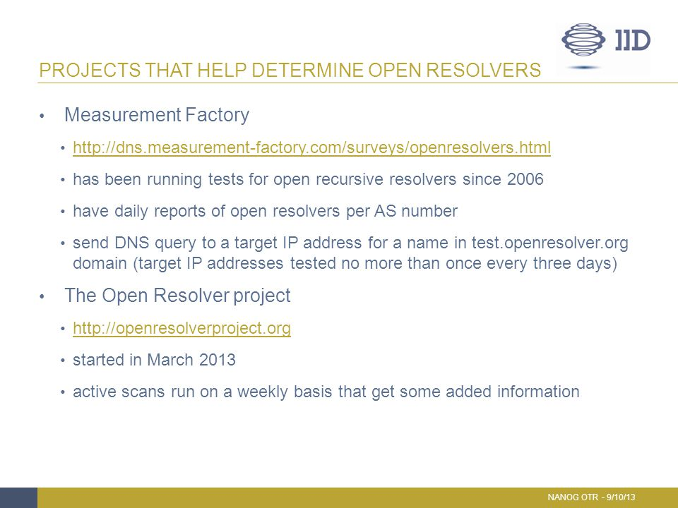 Projects that help determine open resolvers