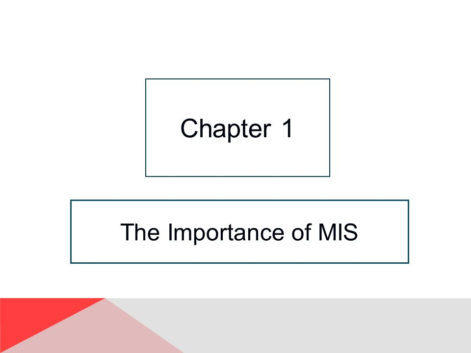 Chapter 1 The Importance of MIS