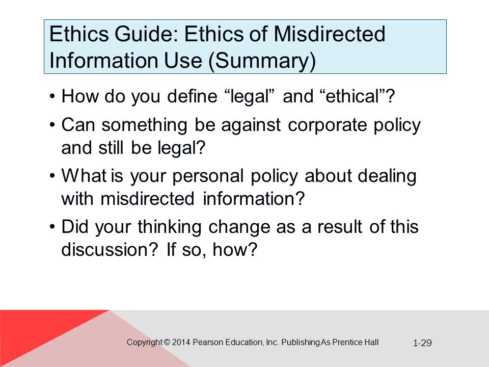 Ethics Guide: Ethics of Misdirected Information Use (Summary)