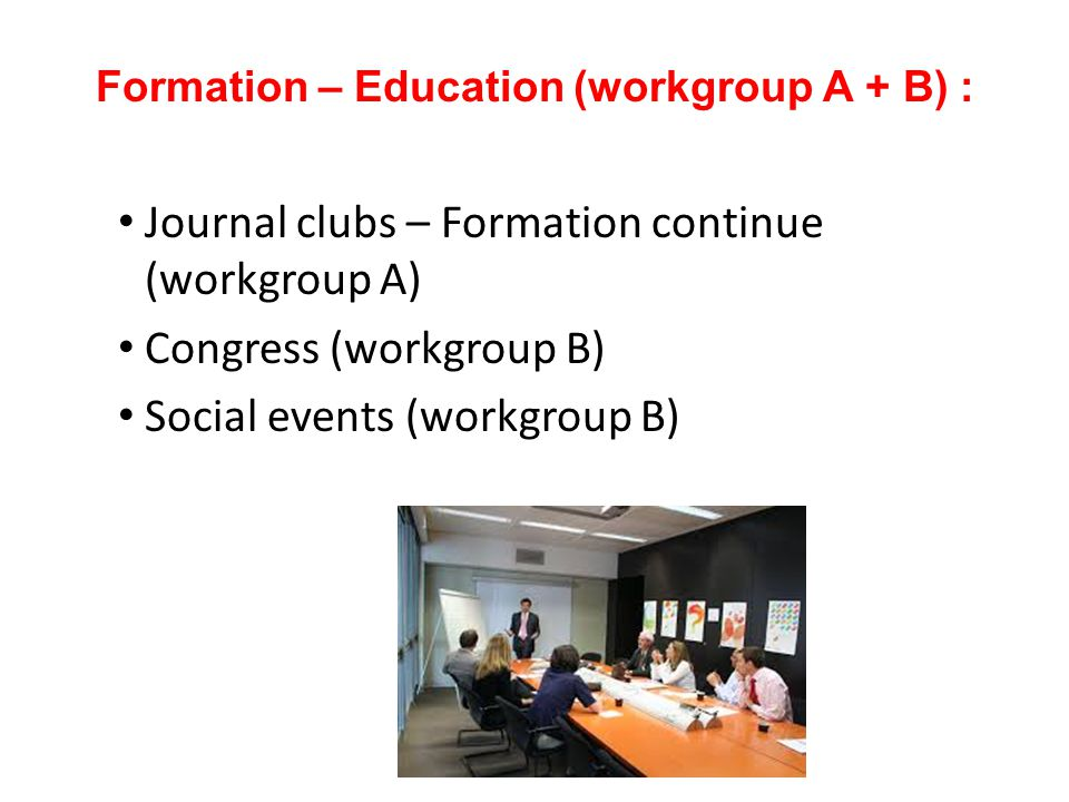 Formation – Education (workgroup A + B) :