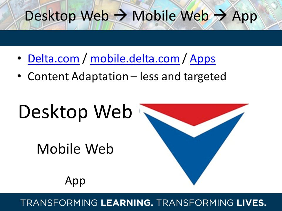 Desktop Web  Mobile Web  App