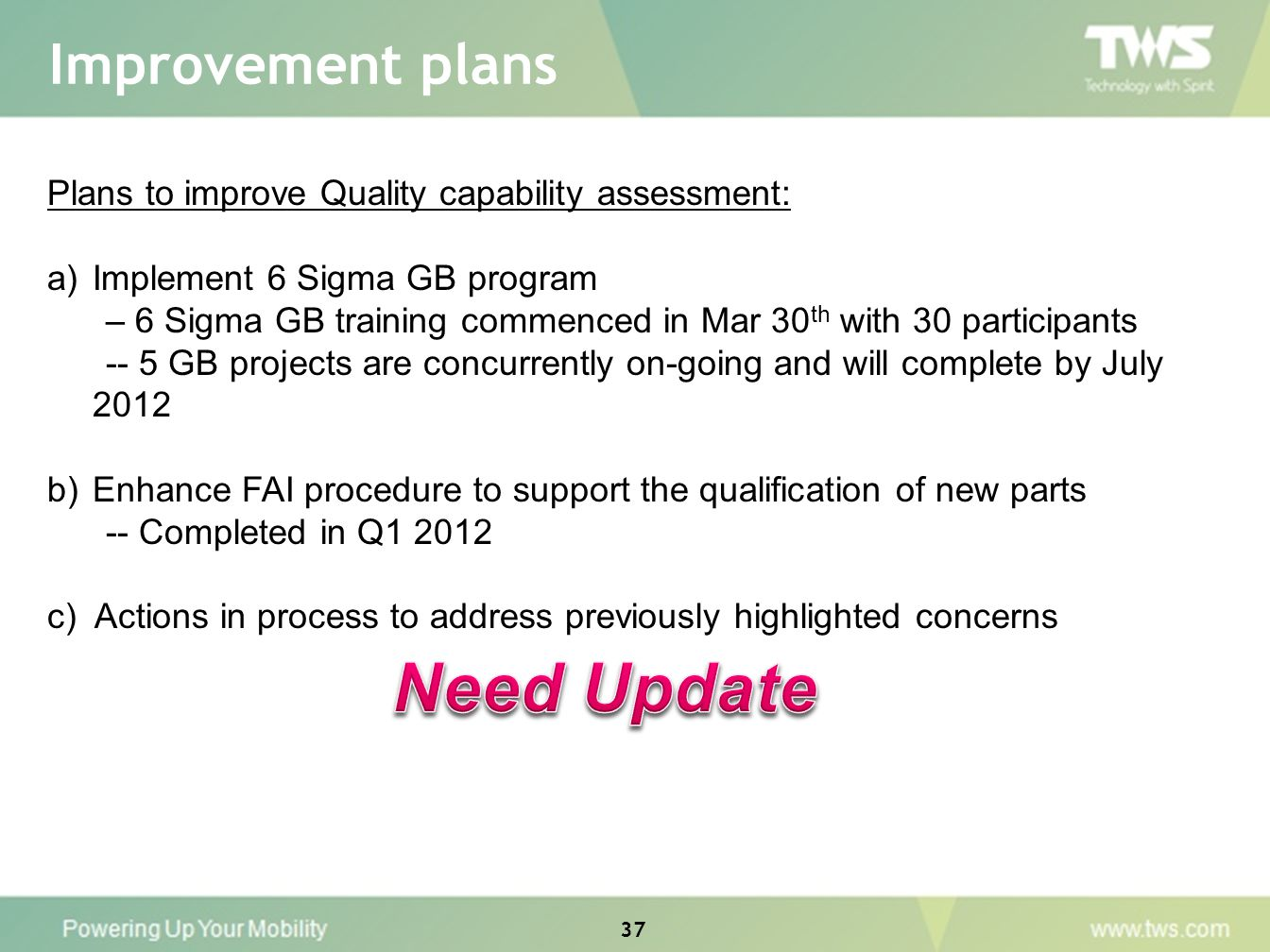 Improvement plans Need Update