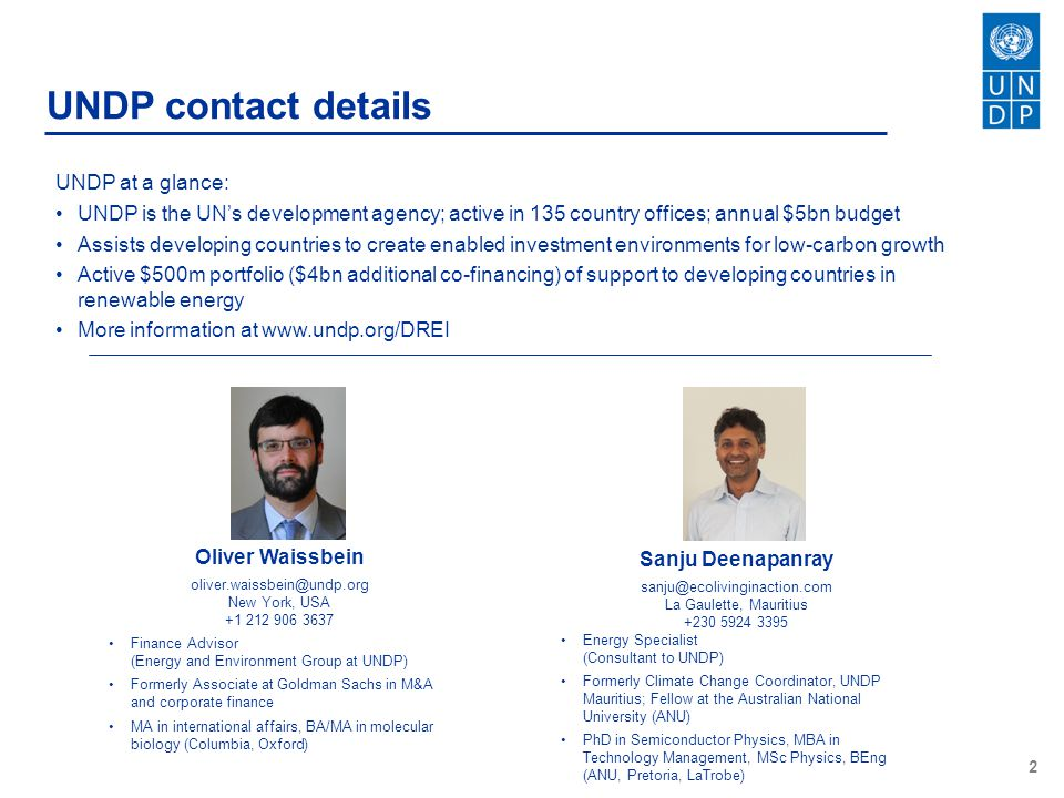 UNDP contact details UNDP at a glance: