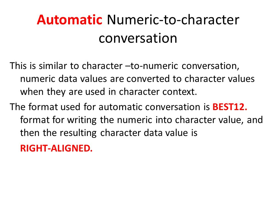 Automatic Numeric-to-character conversation