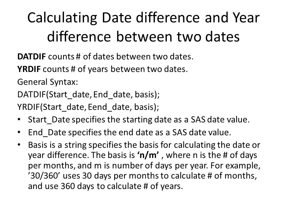 difference between dates