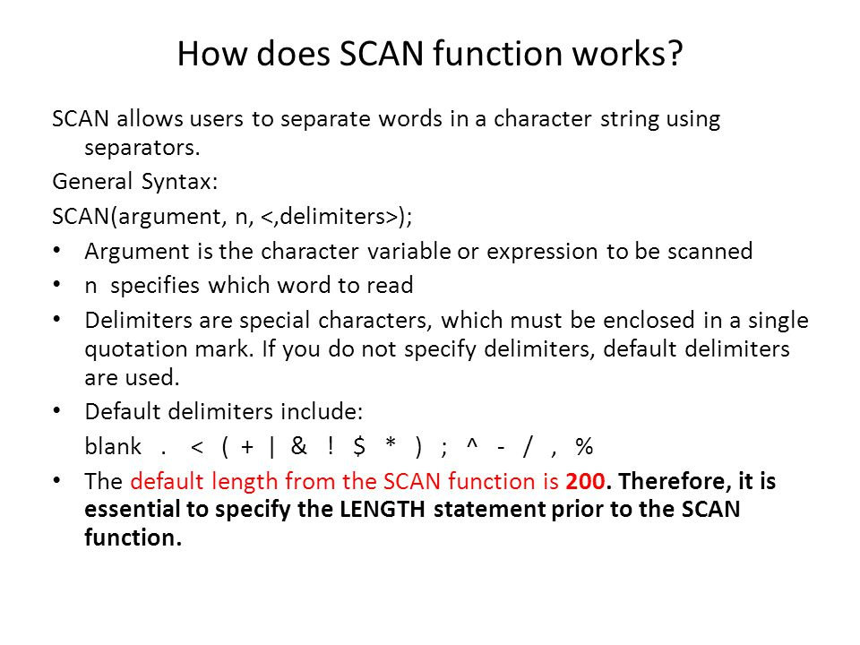 How does SCAN function works
