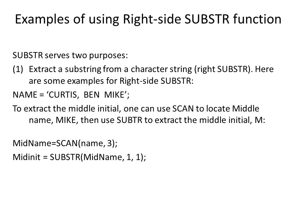 Examples of using Right-side SUBSTR function
