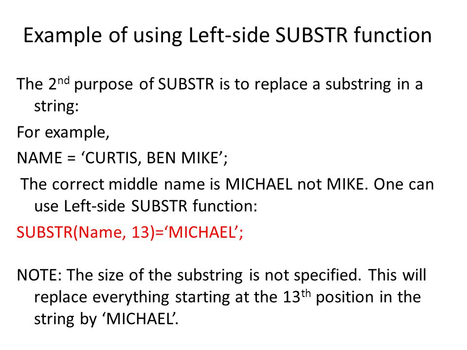 Example of using Left-side SUBSTR function