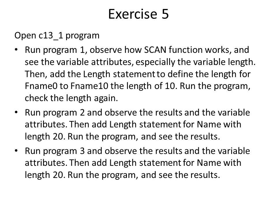 Exercise 5 Open c13_1 program