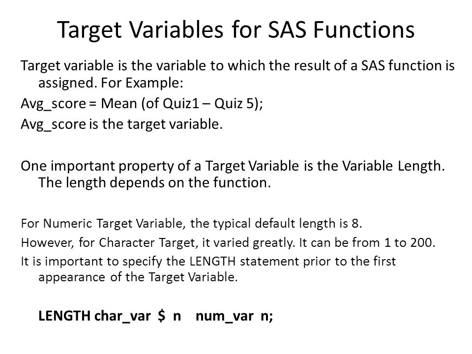 Target Variables for SAS Functions