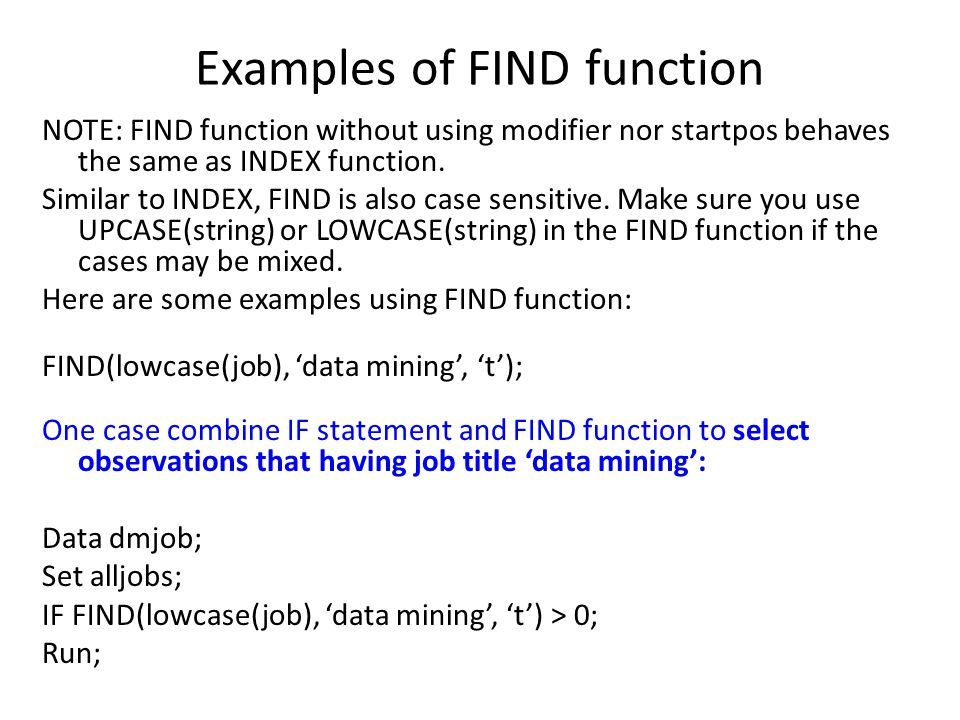Examples of FIND function