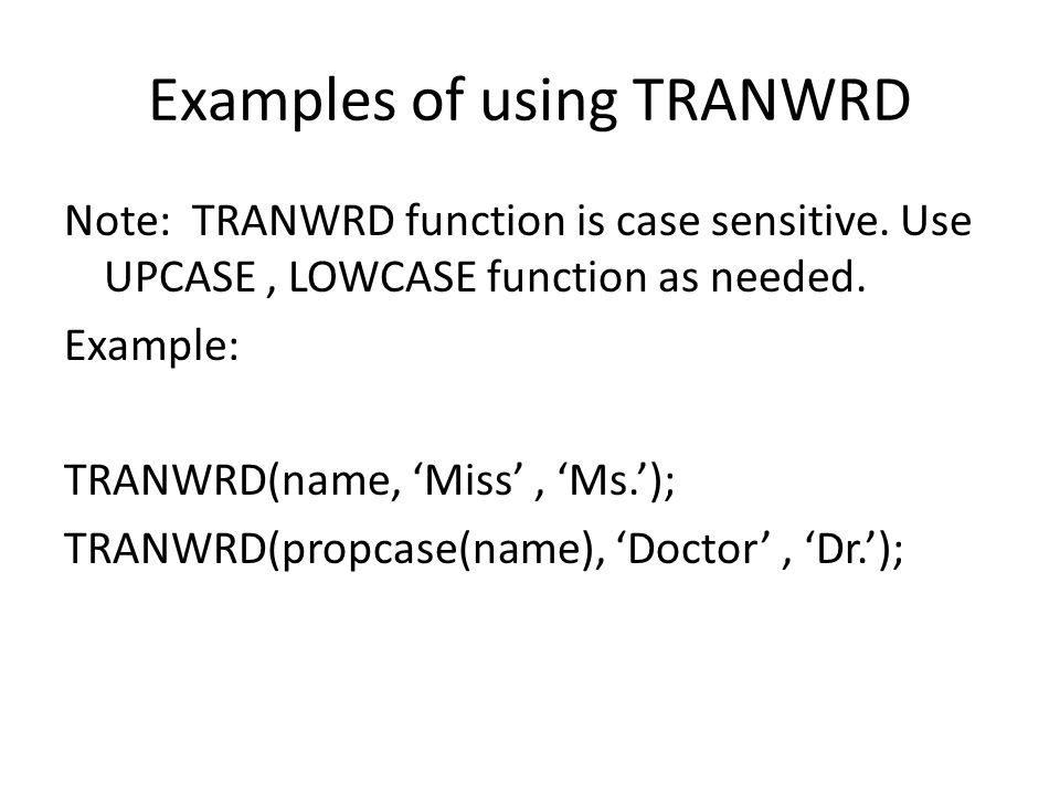 Examples of using TRANWRD