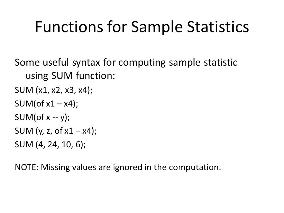 Functions for Sample Statistics