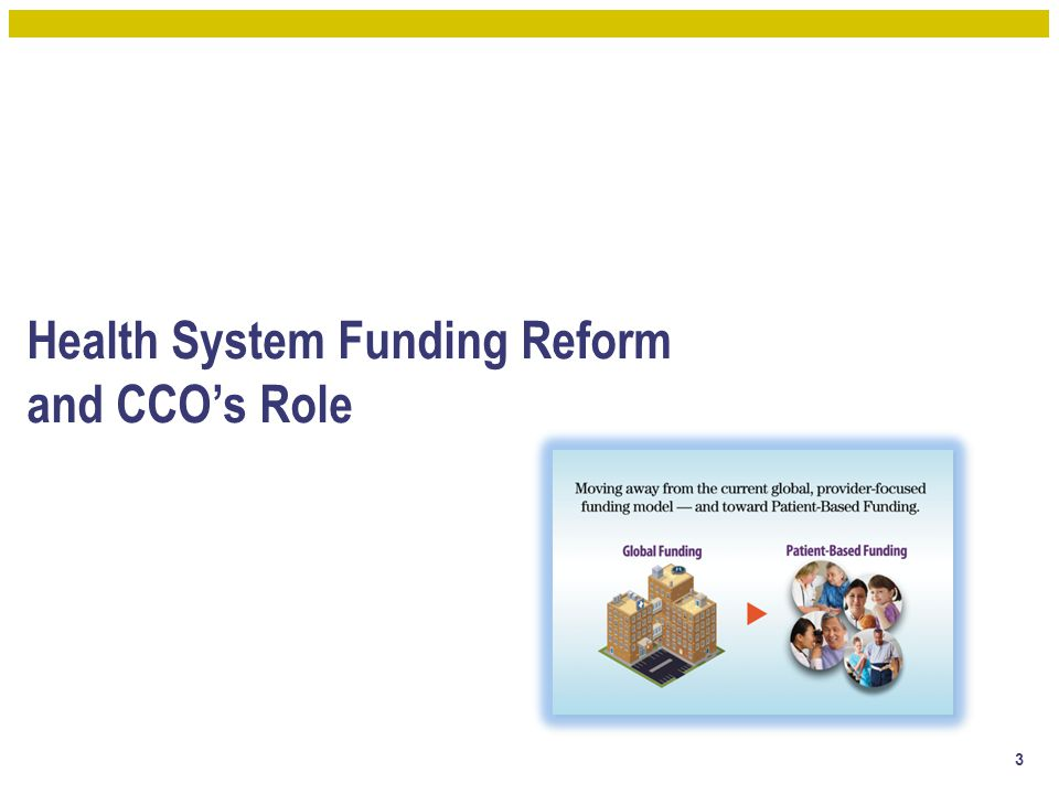 Health System Funding Reform and CCO's Role