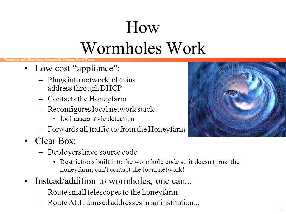How Wormholes Work Low cost appliance : Clear Box: