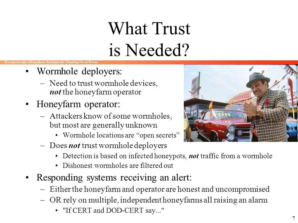 What Trust is Needed Wormhole deployers: Honeyfarm operator: