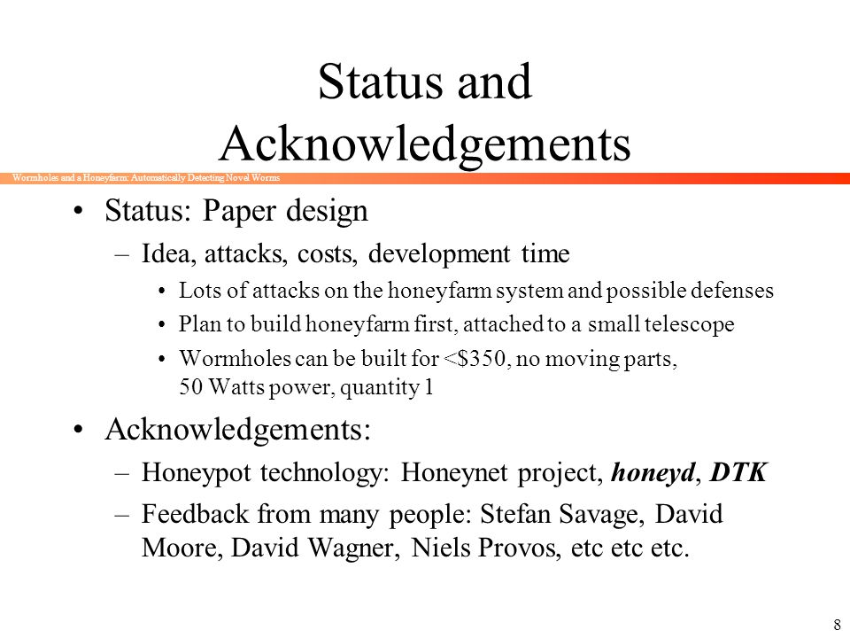 Status and Acknowledgements