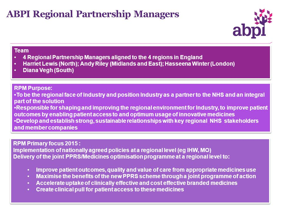 ABPI Regional Partnership Managers