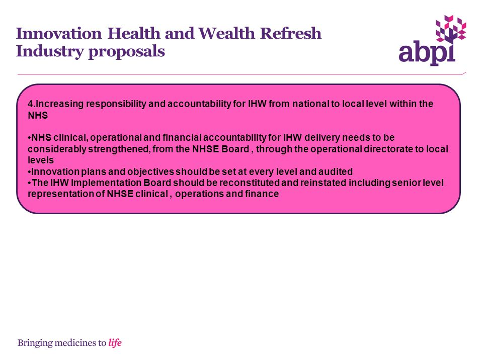 Innovation Health and Wealth Refresh Industry proposals
