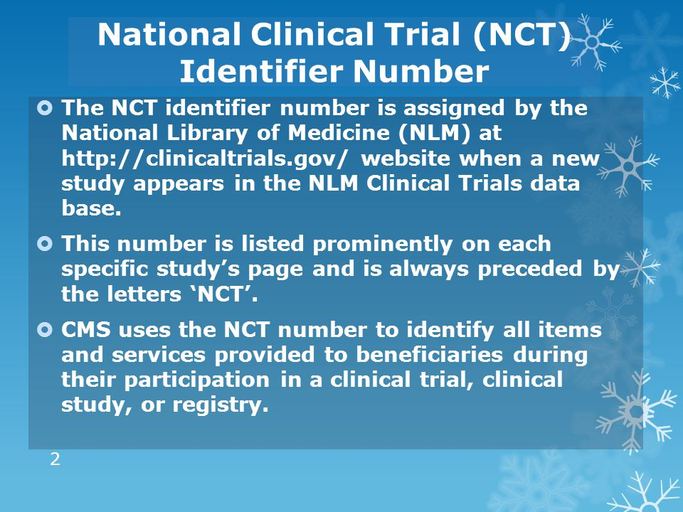National Clinical Trial (NCT) Identifier Number