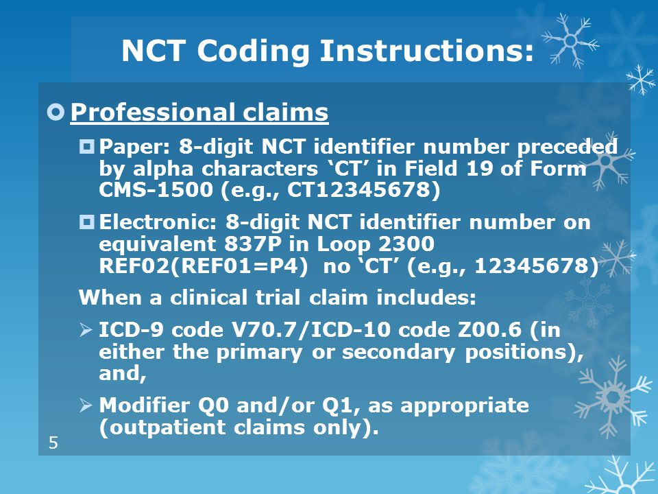 NCT Coding Instructions:
