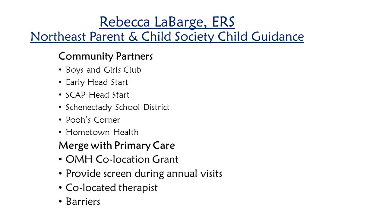 Rebecca LaBarge, ERS Northeast Parent & Child Society Child Guidance