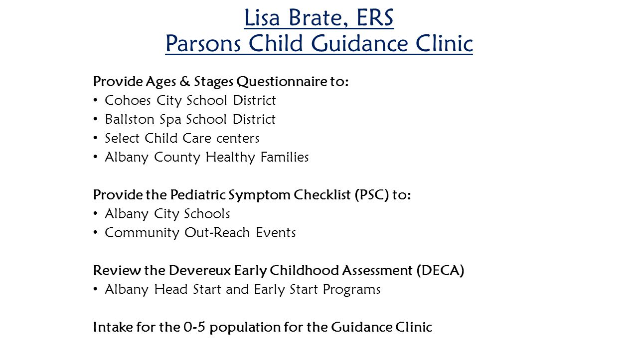 Lisa Brate, ERS Parsons Child Guidance Clinic