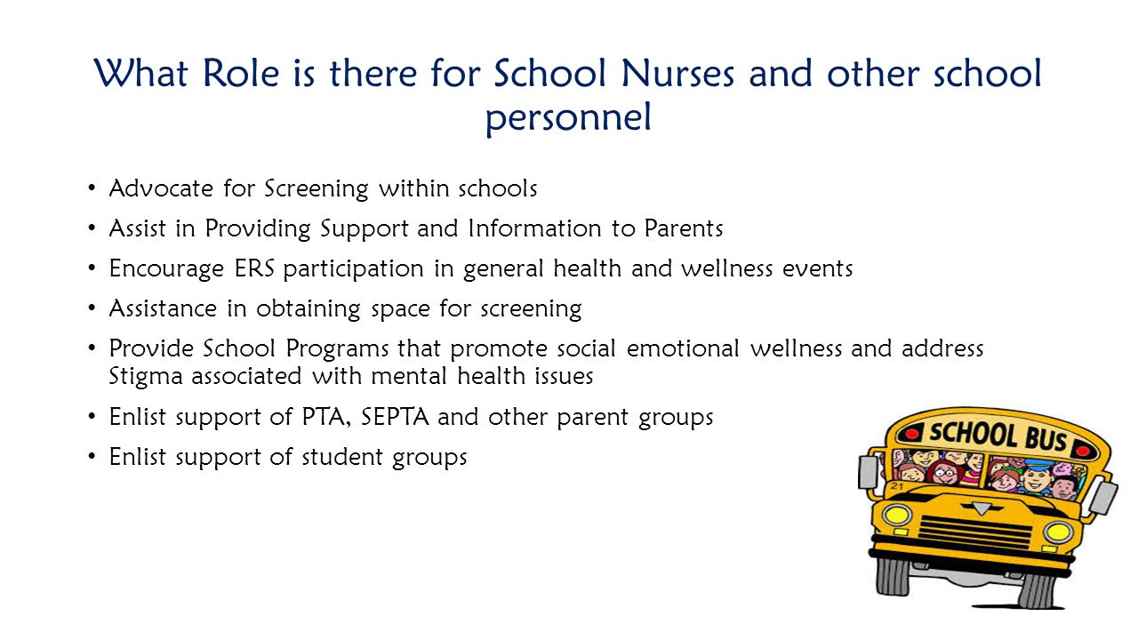 What Role is there for School Nurses and other school personnel
